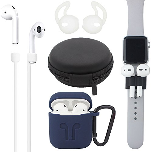 Airpods Case, [Airpods Accessories Set][Airpods Ear Hook][Airpods Watch Band Holder][Airpods Keychain][Airpods Strap][Silicone Cover][Airpods Travel Case] Best Kit Apple AirPods Charging (Blue)