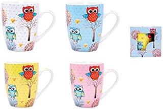 DISOK Lote de 4 Tazas Owl en Caja de Regalo, Cerámica, 8x8x10.5 cm