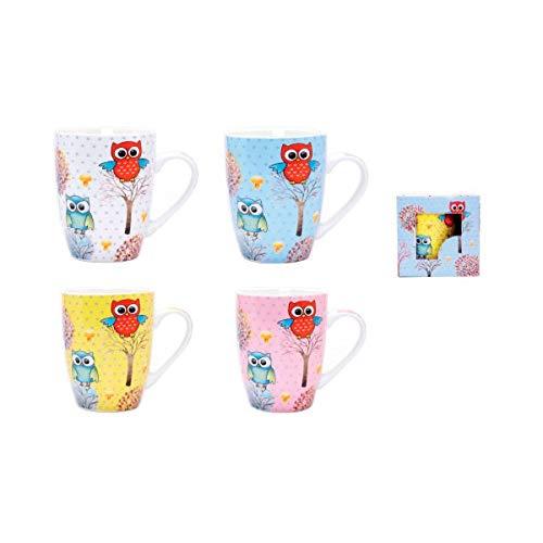 DISOK Lote de 4 Tazas Owl en Caja de Regalo, Cerámica, Multicolor,...
