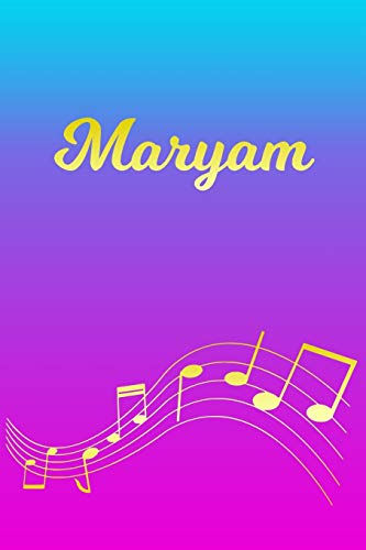 Maryam: Sheet Music Note Manuscript Notebook Paper – Pink Blue Gold Personalized Letter M Initial Custom First Name Cover – Musician Composer … Notepad Notation Guide – Compose Write Songs