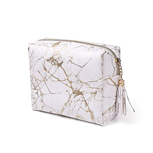 Pouch Makeup Pouch Storage Marble Pattern Pu Tassel Cosmetic Bag Portable Large Capacity Multifunctional Toiletry Bag