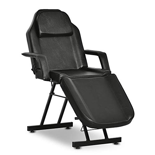 OKAKOPA Spa Tattoo Beds, Facial Massage Table Tattoo Chair Adjustable Salon Beauty Personal Care Equipment Tatsoul Chair with Towel Holder Black