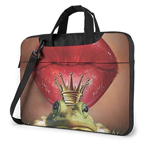 Red Lips Getting Ready to Kiss A Frog Laptop Bag Briefcase Shoulder Mesenger Bag for Women Men 15.6 Inch
