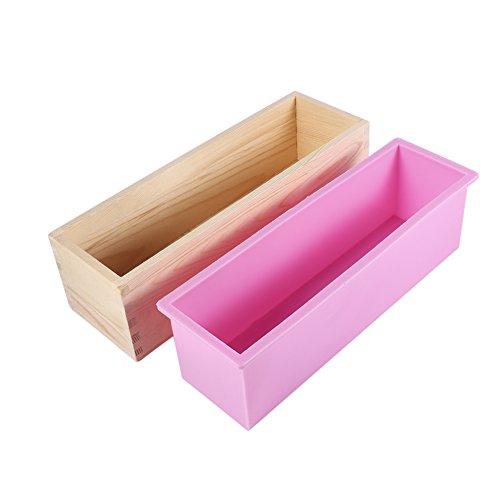 iFCOW rechthoek zeep mal, houten doos siliconen voering zeep mal DIY maken gereedschap bakken taart brood toast mal
