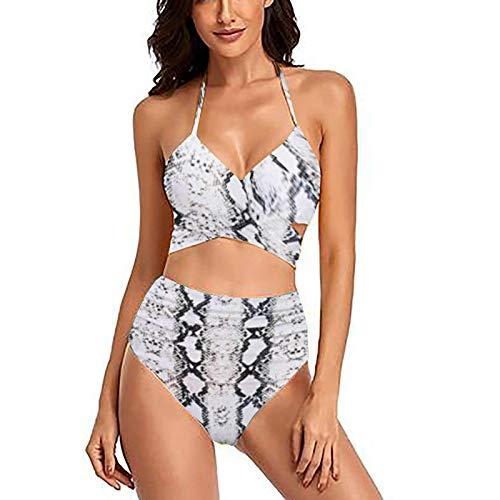 YANFANG BañAdores Mujer BrasileñO,Bikini De Traje BañO 2 Piezas con Estampado Floral Y Cintura Alta Cruzada para Mujer,Bikinis BrasileñOs,Bikinis Alta,Multicolor,S-XL