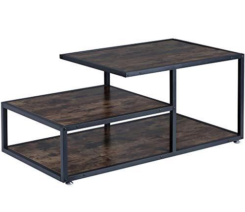 BOTONE Praktischer Wohnzimmertisch, Couchtisch, Beistelltisch mit Zwei verschieden hohen Flächen in dunkler, rustikaler Holz-Optik und mit stabilem schwarzen Metallrahmen; (120x60x52cm)