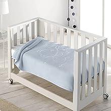 Pielsa BABY - 6654-62, Manta bebe, Manta bebe recién nacido, Manta bebe invierno, Manta bebe meses, Manta bebe gofrado, Manta de cuna, Color Azul, Tamaño 80 x 110