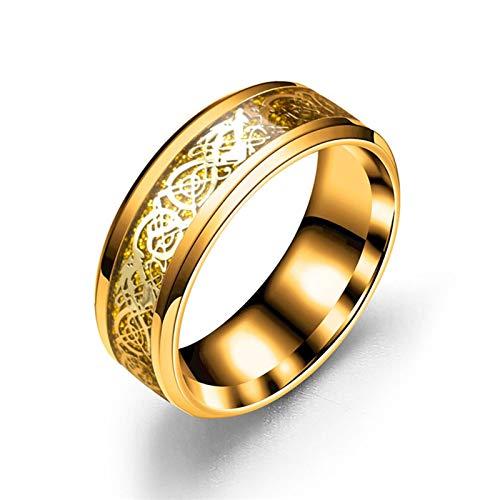 Daesar Anillo de Compromiso para Mujer Patrón de Dragón Oro Anillo de Hombre Acero Inoxidable Oro Anillo Talla 15