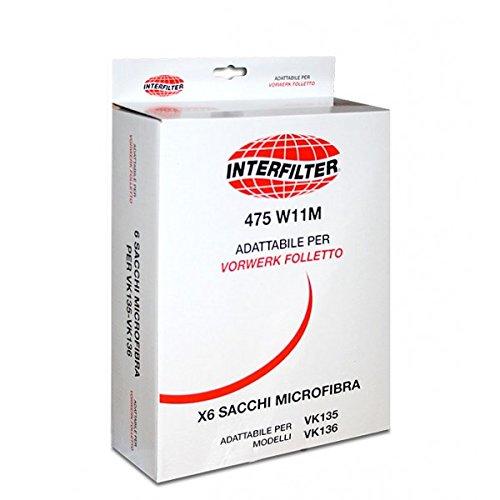 Lot de 2 sacs adaptables Folletto en microfibre pour VK135 VK136