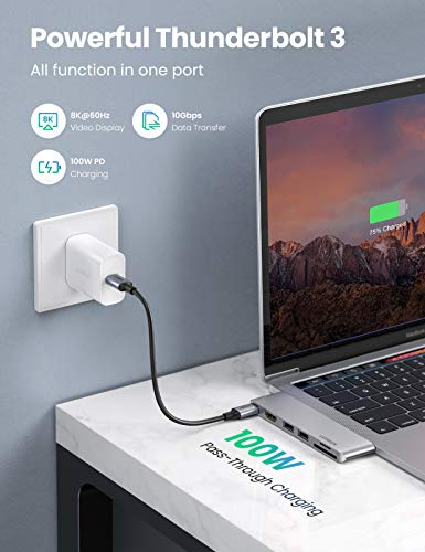 UGREEN USB C Hub kompatibel mit MacBook Air, MacBook Pro Adapter M1 USB C Adapter HDMI mit 4K HDMI, USB-A 3.0 Datentransfer, SD & microSD Speicherkartensteckplatz, USB-C (100W PD)