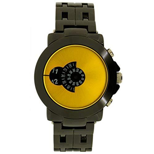 SOFTECH Mens Designer Retro gelbes Gesicht Jump Hour Disc Edelstahl-Armband-Uhr