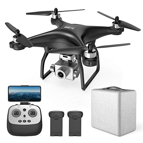 HEYGELO X35 2K FPV Drones with Camera for Adults, RC Camera GPS Drone with Auto Return Home, Follow Me, Altitude Hold, Tap Fly Functions, Includes 2 Batteries and Carrying Case