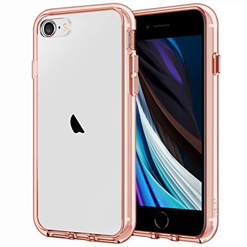 JETech Hülle Kompatibel iPhone SE 2020 (2. Generation), iPhone 8 und iPhone 7, Schutzhülle mit Anti-kratzt Transparente und Rückseite, Rosa Gold