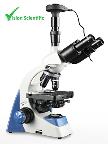 Vision Scientific MU50 Trinocular Compound Microscope, 40x – 1000x Magnification, Double Layer Mechanical Stage, LED Illumination w/ Intensity Control, 3.0MP Digital Eyepiece Camera, USB 2.0