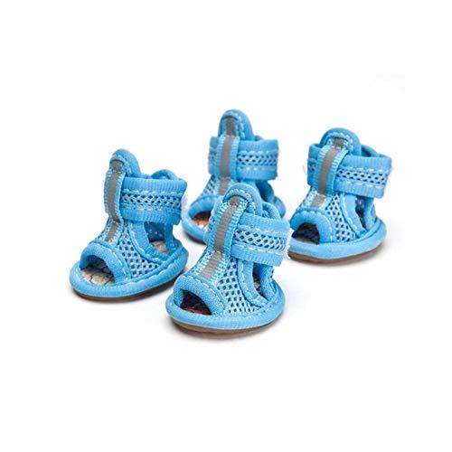 MIMIOOORE 4pcs / lot de la venta informal de Anti-Slip zapatos del perro pequeño lindo mascotas Zapato Zapatos Primavera transpirable acoplamiento suave sandalias de los colores del caramelo del veran