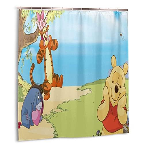 Winnie The Pooh Duschvorhang wasserdichte Duschvorhänge Badezimmer Set Wasserabweisender Stoff Duschvorhang mit 12 Haken für Home Badezimmer Dekor 66x72in