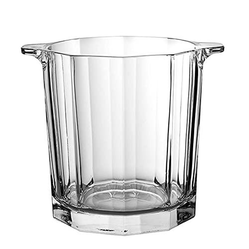 LBSY Cubitera de Vidrio de Cristal - 1.6L - con Pinzas para Hielo Y Dos Asas Frigorífico Portátil, se Puede Utilizar para Fiestas, Barbacoas Y Buffets, KTV, Transparente