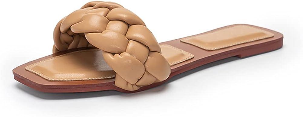 Dreamcia Women Square Open Toe Braided Strap Slide Sandals Casual Summer Slip On Sandals