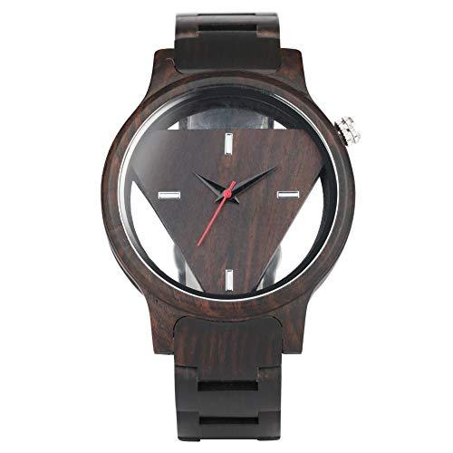 Sandelholz Hohl Dreieckige Uhr für Herren Quarzkern Holz Uhren