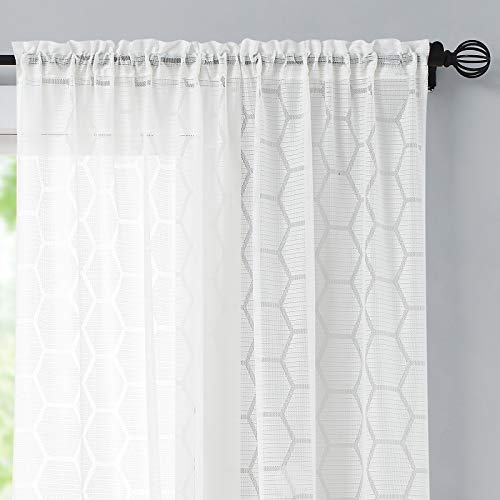 White Sheer Curtains for Nursery/Kids' Room 63 inch Length Geometric Hexagon Light Filtering Grommet Drapes Honeycomb Design Privacy Voile Curtain Panels for Bedroom Living Room 55' W 2 Panels