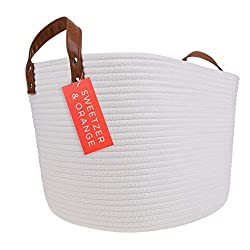 Extra Large Off-White Woven Rope Storage Basket with Leather Handles