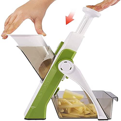 Multifunktional Mandolin Slicer - Safe Vegetable Cutter Chopper,Manual Vegetable Slicer, All-Purpose Cutter for Cutter Quick Dicer Fruit Fries Julienne,No Blade Change Required (Green)