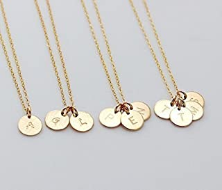 1 2 3 4 Circle Initial Pendant Necklace, Customized Small Disc Necklace, Family, Sister Necklace, Mother, Couple Jewelry 14K Gold fill, Sterling Silver or Rose Gold