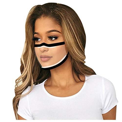 OPIAL Transparente Lippen Mundschutz mit klarem Fenster, Waschbar PVC Staub mundschutz Wiederverwendbare Plastik für Erwachsene Laufen, Radfahren