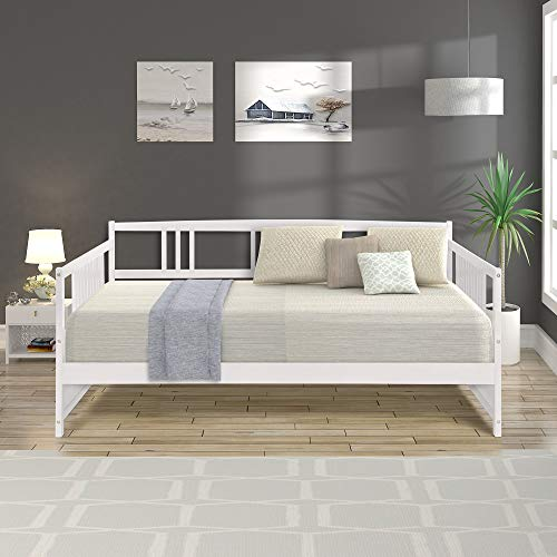 FLIEKS Solid Wood Daybed Full Size Daybed with 10 Wooden Slats Support, White