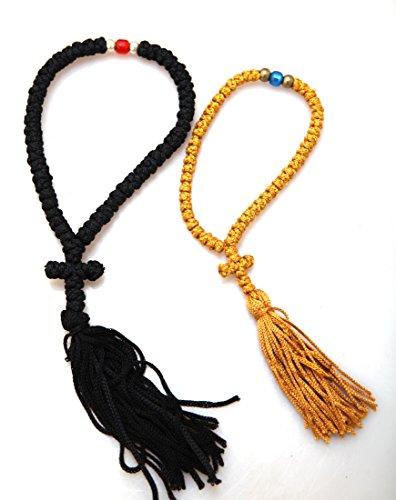 Handgefertigt Blessed Christian-orthodoxe griechisch komboskoini Gebet Seil 50Knoten Set–Schwarz & Gold