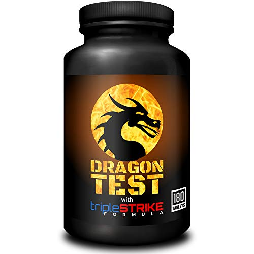 Dragon Test with tripleSTRIKE Formula | Powerful 3in1 Testosterone Booster | High Strength Supplement for Men | 180 Tablets