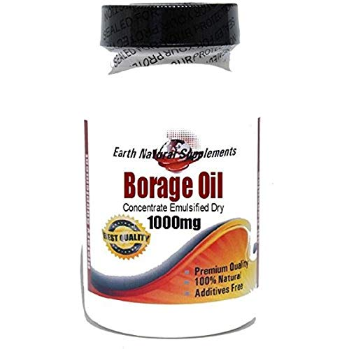 Borage Oil Concentrate Emulsified Dry 1000mg * 200 Capsules 100% Natural - by EarhNaturalSupplements