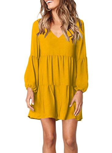 FOWSMON Damen Tunika-Kleid niedlich bedruckt V Ausschnitt Langarm Casual Swing Rüschen Kleid - - XX-Large