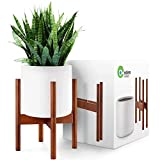 EdenHomes Mid Century Modern Indoor Plant Stand with Pot Set. 10 Inch Flower Pot - White Plant Pot with 14 Inch Tall Plant Holder. Modern Indoor Planter with Stand.
