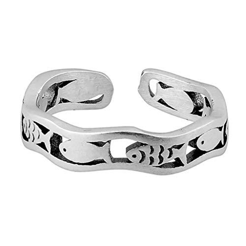 Anillo abierto de plata de ley, diseño retro, ajustable, diseño vintage, anillo de pez