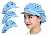 Maifunn 衛生キャップ 3枚セット キッチン 衛生帽 給食帽 工場 業務用 通気性 防塵 髪 布 無地 男女兼用 ライトブルー レディース メンズ MZ8005-Light blue