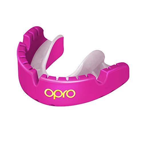 OPRO Gold Level Mouthguard for Braces for Ball, Combat and Stick Sports - 18 Month Dental Warranty (for Ages 7+, Pink)