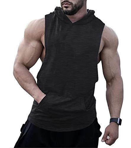 URRU Mens Workout Hooded Tank Tops Sleeveless Gym Hoodies With Kanga Pocket Cool and...