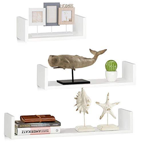 BAKAJI Set 3 Mensole da Parete Moderne Design con Bordi Laterali Mensola Scaffale 1 Ripiano in Legno MDF Varie Dimensioni (Bianco)