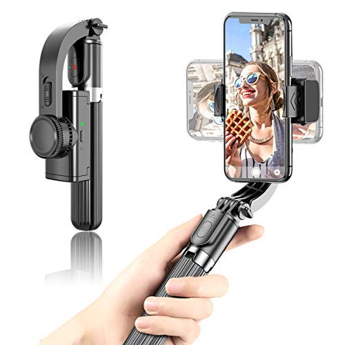 OUTAD Foldable Handheld Phone Gimbal Stabilizer with Extendable Bluetooth Selfie Stick and Tripod, Eliminate Shake to Keep Video Smooth, for Smartphones Vlog Youtuber Live Video TikTok (Black)
