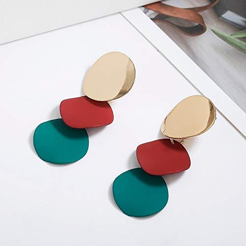 Burenqi Pendientes Elegantes Pendientes Redondos De Metal Desigual para Mujeres Pendientes Geométricos De Metal Regalo De Joyería De Moda 3 Colores
