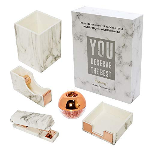 MultiBey 8 Piece Desk Set Marble Office Supplies - with Pen Cup, Sticky Note Holder Desk Organizers - Rose Gold Desk Accessories - Desktop Organization Gift (Marble rose gold, 5 pieces)