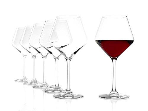 Copas Revolution tipo Borgoña de Stölzle Lausitz, de 545ml, juego de 6, copas especiales para vino tinto, copas para vino tinto tipo balón con mucho carácter