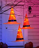 Pre Lit Witch Hat Set of 3 Halloween Lighted Decoration