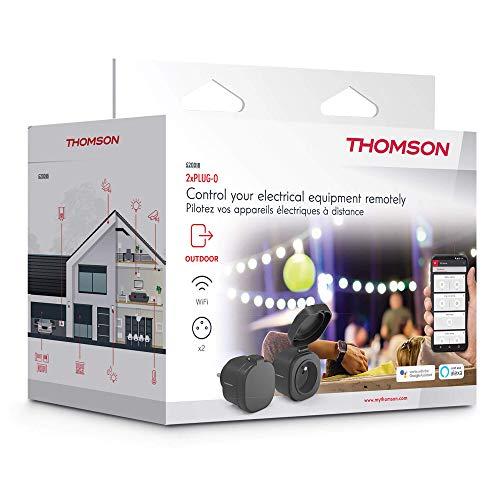 THOMSON 520007 Prise connectée WiFi extérieure-Plug-0, Noir