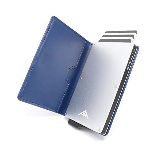 STEALTH WALLET Porta Carte RFID - Portafoglio Pop-up Minimalista - Portafogli Titolare della Carta Credito Leggero e Sottile e Protezione (Alluminio Argento con Pelle Blu)