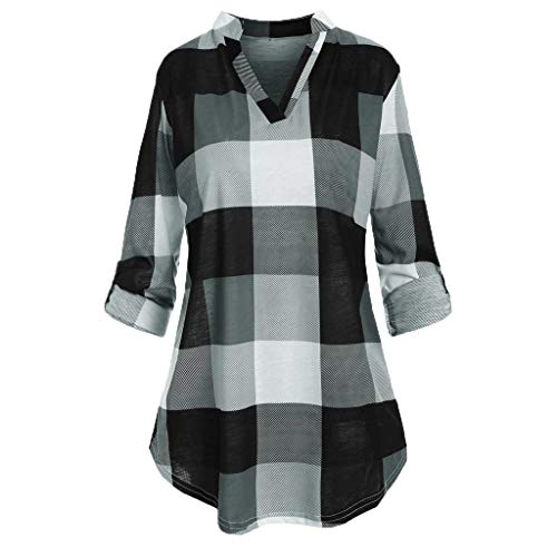 HHoo88 Plus Size Women V-Neck Checked Plaid Blouse Roll Up Sleeve Printed T Shirt Tops Tee Gray