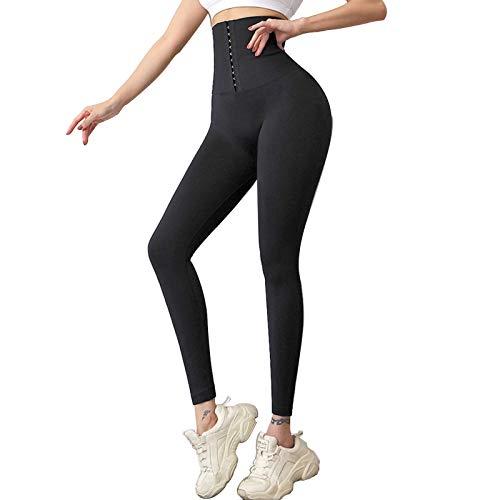 Leggings de cintura alta para mujer, pantalones de yoga para levantamiento de glúteos, control de barriga, mallas para entrenamiento de cintura, color negro, S