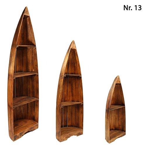 Oriental Galerie Bootsregal Regal im Boots-Design Holzregal Standregal Aufbewahrung Konsole Bord Albesia Holz, Design:Nr. 13, Größe:Mittel