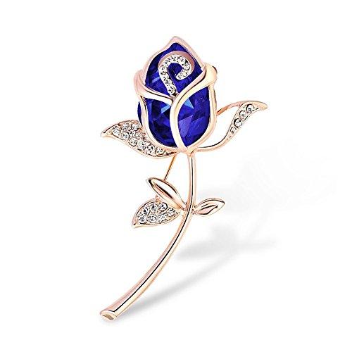 Uniqueen Luxury Glass Tulip Flower Brooch Pin for Women Wedding Party Pins Braoch (Blue)